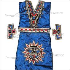 Vestido azteca para dama color azul metálico con rojo, dorado y negro.