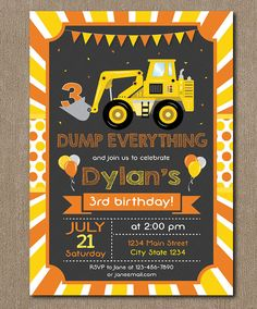 Construction Birthday Invitation Construction by PixeleenDesigns