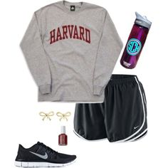 """Lazy day outfit"" by emily-whales on Polyvore Nike Tempo shorts college t-shirt"