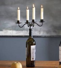 How to convert a wine bottle into a candelabra.