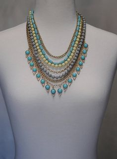 Bib Necklace Layered Necklace Turquoise necklace Dangle