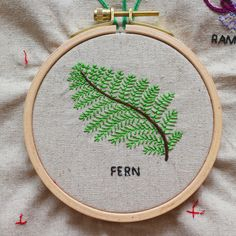 fern stitch hand embroidery Ferns, Hand Embroidery, Craft Ideas, Stitch, Crafts, Design, Needlepoint, Full Stop, Manualidades