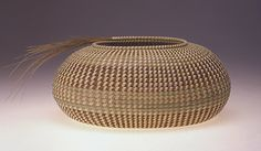 Description: Hand coiled sweetgrass, bulrush, palmetto, and pineneedles.Dimensions: x x Inches Oval Vessel with Sweetgrass Spra Weaving Art, Hand Weaving, Bountiful Baskets, Pine Needle Baskets, Philadelphia Museum Of Art, Glass Ceramic, Artist Gallery, Basket Weaving, Contemporary Artists