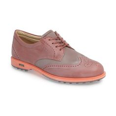 Women's Ecco Classic Golf Hybrid Iii Oxford ($190) ❤ liked on Polyvore featuring shoes, oxfords, petal leather, lightweight shoes, leather golf shoes, special occasion shoes, oxford shoes and golf shoes