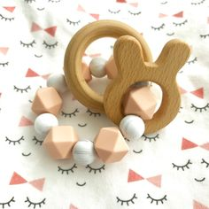 Silicone Teether with Wooden Ring Rattles  Double by hellobabyLA