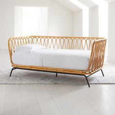 Rattan Twin Daybed at Crate and Barrel Canada. Discover unique furniture and decor from across the globe to create a look you love. Rattan Daybed, Diy Daybed, Upholstered Daybed, Daybeds, Nursery Daybed, Wood Daybed, Custom Furniture, Kids Furniture, Sunroom Furniture