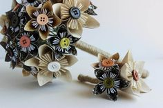 Bouquet and Boutonierre set - Kusudama Paper Flowers