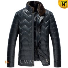 """CWMALLS® Kansas Mens Leather Down Jackets CW846039 - Original designer leather down jackets for men with removable mink fur collar, fashion zip closure with snap buttons and beautiful quilted details make this down jacket look more stylish, premium leather and down material will always keep you comfortable and warm in the cold, it can protect you even the """"Ice Age"""" comes."""