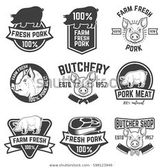 Find Farm Fresh Pork Meat Emblems Design stock images in HD and millions of other royalty-free stock photos, illustrations and vectors in the Shutterstock collection. Logos Vintage, Vintage Labels, Vintage Posters, Pork Hot Dogs, Ideas Para Logos, Chorizo, Watercolor Paper Texture, Meat Shop, Modern Logo