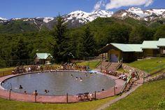 People soaking in hotsprings of Termas de Chillan.
