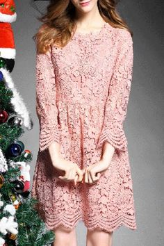 Sweet Round Collar Long Sleeve Pink Hollow Out Women's Lace Dress