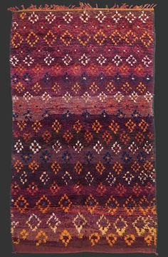 Beni Mguild pile rug, western central Middle Atlas, Morocco    (could one get the same effect with space dyed + block printing??)