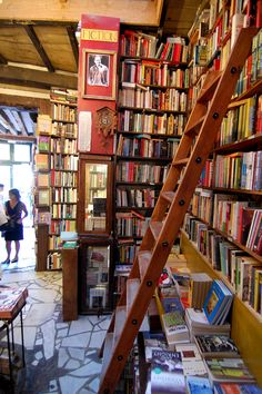 Interior of bookstore, Shakespeare & Co., Paris. I cold easily spend a few hours browsing books here.