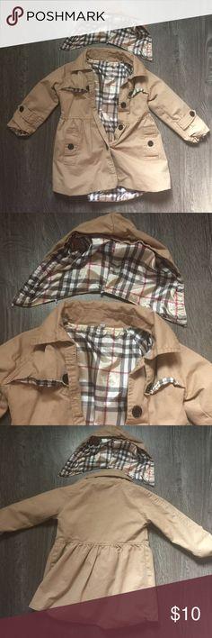 Jacket Girls tan jacket with silk like material inside size 3t Jackets & Coats