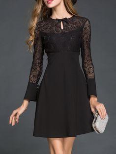 Shop Mini Dresses - Black Long Sleeve Cotton-blend Plain Paneled Mini Dress online. Discover unique designers fashion at StyleWe.com.