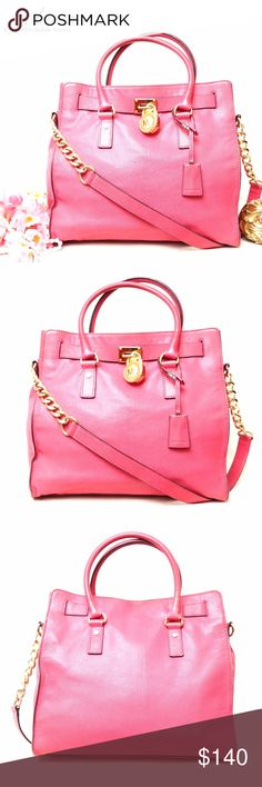 """Michael Kors Hamilton Pink Leather Shoulder BAG Adorable Color!! Beautiful style. Preloved in excellent condition exterior both exterior and interior. No significant signs of wear. Interior is clean. This is one of the most beautiful thing your closet will have. Excellent bag to use for office and for daily use. Size 13""""x14""""x5"""". Pet/smoke free home.  AUTHENTIC-LEATHER-FAST SHIPPING!  ⏳My items sell fast. Get them before gone.⌛️Please see my other listings. Bundle & save. KORS Michael Kors…"""