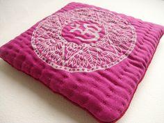 Singing bowl cushion handmade pink & white Om by GaneshasRat