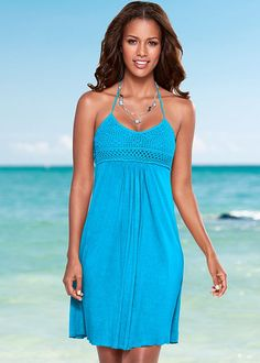 Crochet Bust Halter Dress from VENUS women's swimwear and sexy clothing. Order Crochet Bust Halter Dress for women from the online catalog or Beach Dresses, Casual Dresses, Venus Clothing, Crochet Bodycon Dresses, Venus Swimwear, Everyday Dresses, Dress Skirt, Fashion Outfits, Clothes