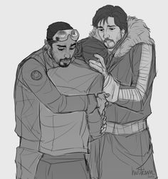 sempainope said: Just a Rogue One request, if you're not insane busy with requests already… Bodhi and Jyn mourning Galen's death together. Extra gratitude points if you include Cassian listening out of sight and feeling conflicted and torn.