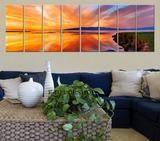 "Large Wall Art Colourful Sea and Beach Canvas Art Print 8 Panel Beach Sunset Sea Landscape 100"" x 32"" Large CANVAS"