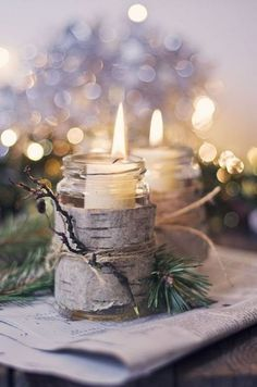 woodland candle winter wedding centerpieces and lighting ideas
