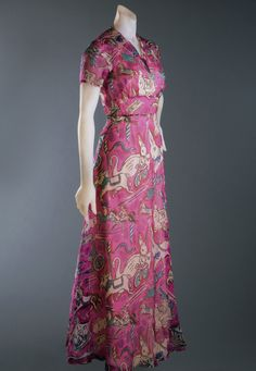 Dinner dress | House of Schiaparelli | France | summer 1938 | printed silk chiffon | Philadelphia Museum of Art | Accession #: 1969-232-38