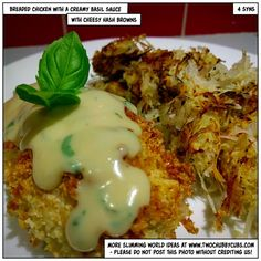This recipe for Slimming World breaded chicken in a basil cream sauce is quick and easy to put on the table, with a delicious cheesy hash brown side! Slimming World Recipes Syn Free Chicken, Slimming Recipes, Chicken Ham, Breaded Chicken, Basil Cream Sauces, Basil Sauce, Healthy Eating Recipes, Cooking Recipes, Healthy Meals