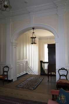 Sabine Hall; stair landing from 2nd floor passage