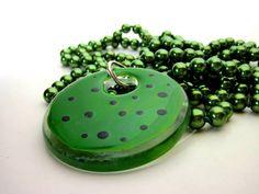 Pingente de Vidro Verde / Preto Colar de pérolas verde