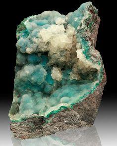 "4.3"" Turquoise Blue CHRYSOCOLLA w/Sparkling DRUSY QUARTZ Coating Peru for sale"