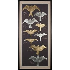 Natural Curiosities Tolstoys Birds 1, Gold Leaf ($1,990) ❤ liked on Polyvore featuring home, home decor, wall art, art, bird home decor, silhouette wall art, natural curiosities, rectangular wall art and gold leaf wall art