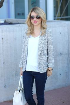 Knit blazer, white shirt, denim outfit @maisonjules