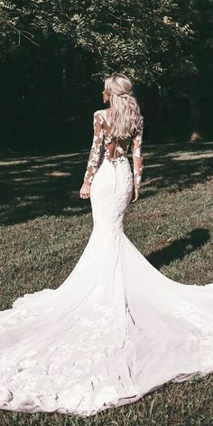 Wedding Gown wedding gown styles mermaid with long sleeves illusion back floral pronovias - Wedding dress shopping can be a bit intimidating. Here is a helpful guide to familiarize yourself with the different wedding gown styles that are available. Wedding Dress Black, Lace Wedding Dress With Sleeves, Wedding Dresses 2018, Long Sleeve Wedding, Elegant Wedding Dress, Wedding Dress Styles, Bridal Dresses, Lace Sleeves, Wedding Outfits