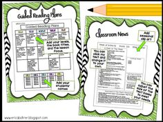 Guided Reading Planning Page and Classroom News Teacher Plan Books, Book Title, Guided Reading, Getting Organized, Binder, Clip Art, Student, Organization, Education