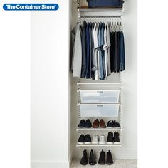 "Available only at The Container Store, this Elfa Classic White Small Reach-In Closet maximizes your space to accommodate short-hanging clothes, shoes, folded items and seasonal clothing. This solution is designed for a closet at least 27"" wide. Small Coat Closet, Reach In Closet, Closet Space, Open Closets, Dream Closets, Elfa Closet, Closet Rod, Entryway Closet, Hall Closet"