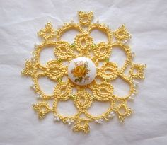 beautiful tatting and button.  Would be great way to frame a prized antique button!