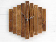 Wood Clock Big Romb Silent Clock Wall Clock Unique Wall by Paladim