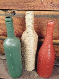 Painted Wine Bottle Decor Set of 3  Green by ColorMySoulCreations, $32.00