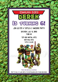 5x7 Mutant Ninja Turtle Invitation 5 Designs Available By Announcements Plus 1500