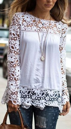 Charming CutOut Lace Top //