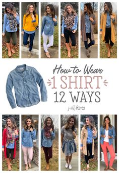 How to wear 1 Chambray shirt 12 different ways! How to wear 1 Chambray shirt 12 different ways! A good basic denim chambray shirt can be worn so many ways! This top is such a great piece to wear all year long and perfect for a capsule wardrobe. Looks Camisa Jeans, Looks Jeans, Chambray Shirt Outfits, Chambray Top, Jean Shirt Outfits, Denim Shirt Outfit Summer, Olive Green Pants Outfit, Burgundy Pants Outfit, Colored Jeans Outfits