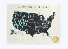 """This beautifully screen-printed National Parks map lets you mark off each park visited with a little Green tree sticker. Super fun for the whole family. :: Dimensions: available in two sizes 11"""" x 17"""""""