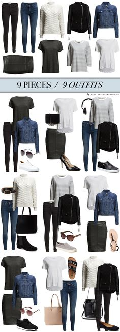 9-pieces-9-outfits mix & match minimal wardrobe AW
