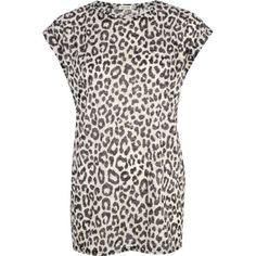 Beige animal print burnout oversized t-shirt - print t-shirts / vests - t shirts / vests / sweats - women