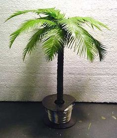 Make Fake Palm Tree With Tree Branch And Artificial Leaves