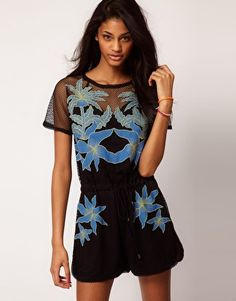 Enlarge ASOS Mesh Playsuit with Mirrored Hawaiian Detail