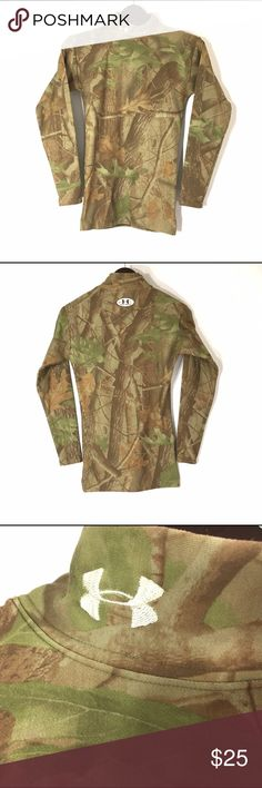 UA Mock Neck Realtree The Under Armour® Women's Fitted ColdGear® Mockneck Shirt is the ulitimate next-to-skin baselayer. This cold weather essential is perfect to keep warm on those chilly fall mornings or brisk winter days. The moisture-wicking components keep you dry and comfortable all day long. Under Armour Tops Tees - Long Sleeve