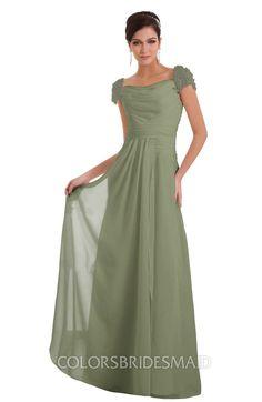 dc3632363b Moss Green Elegant A-line Wide Square Short Sleeve Appliques Bridesmaid  Dresses at colorsbridesmaid.