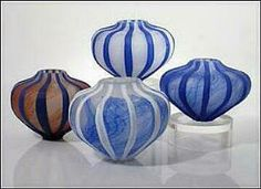 Etched Sea Urchin Vessels Blue. David Leppla
