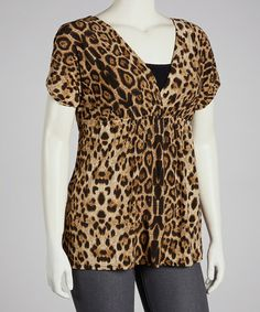 Take a look at this Brown Leopard Surplice Top - Plus by jon & anna on #zulily today! $14 !!